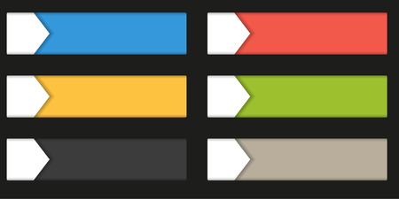 wedge: Set of 4 colorful rectangle buttons - labels - badges with white wedge, isolated on black, infographic element Illustration