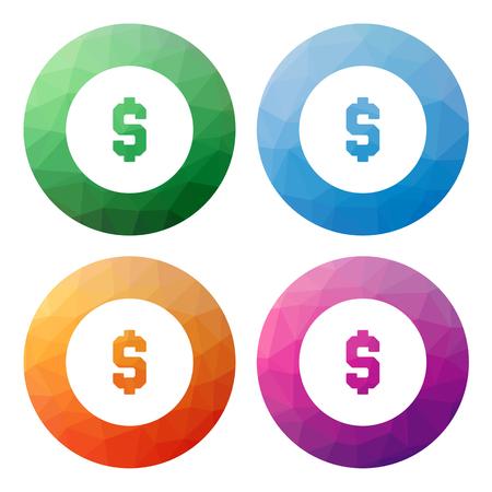 dolar: Colecci�n de 4 aislados modernos botones poligonales bajos - iconos - correspondientes a monedas de dolar