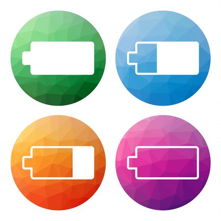 status: Collection of 4 isolated modern low polygonal buttons - icons - for battery with different charge status