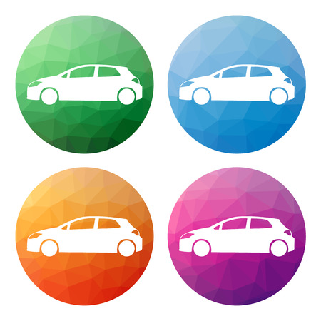 hatchback: Collection of 4 isolated modern low polygonal buttons - icons - for hatchback car - cargo, transport, etc.