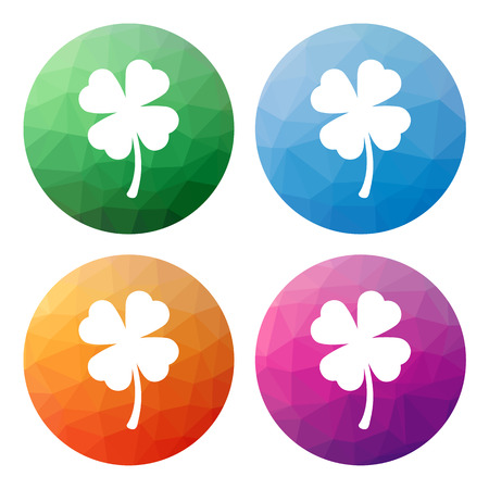 fourleaf: Collection of 4 isolated modern low polygonal buttons - icons - for shamrock (four-leaf)