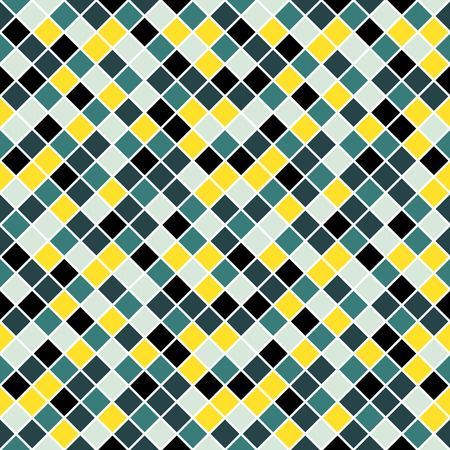 lining: Seamless pattern made of colorful blue, yellow and blue rhombuses with white lining