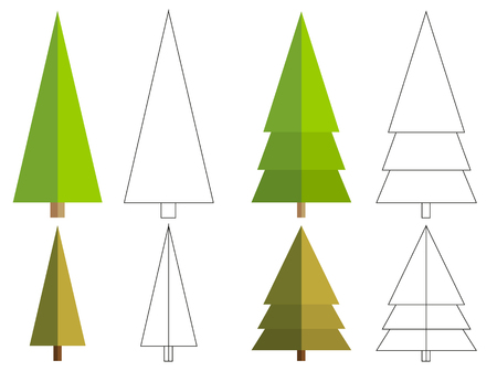 coloration: Set of 4 isolated flat conifer tree + 4 isolated outline version for your coloration Illustration