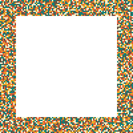 muted: Pixel mosaic square border (frame) in retro (vintage) muted colors