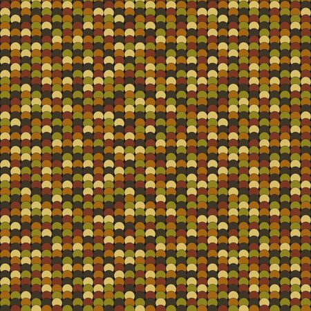 muted: Seamless pattern made of dark muted brown, yellow and green overlay circles with black outline