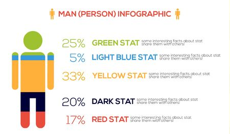 inforgraphic: Colorful human - man, male, person - inforgraphic element, isolated on white Illustration