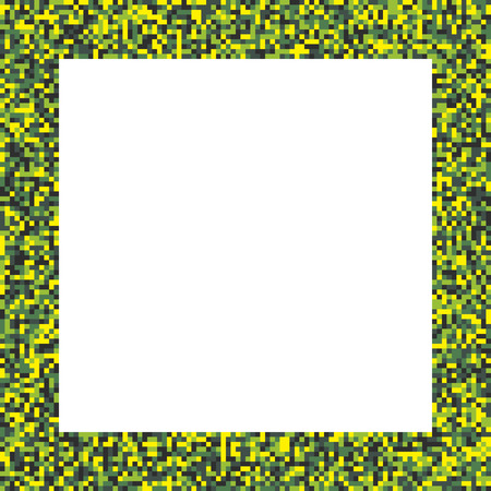 acid colors: Pixel mosaic square border (frame) in acid colors - bright yellow and green
