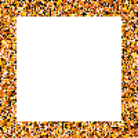 pictureframe: Pixel mosaic square border (frame) in colors of fire - yellow, orange, dark orange, brown, with black and white detailes