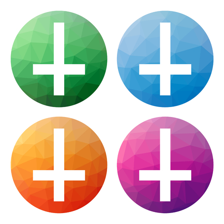Collection of 4 isolated modern low polygonal buttons - icons - for Cross of Saint Peter, Petrine cross, inverted latin cross, religion, christian symbol, recently also anti-christian symbol
