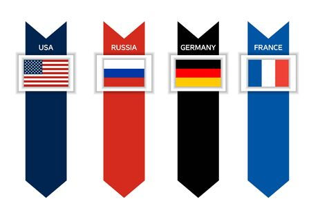 ex: Infographic with 4 countries of ex G8 - USA, Russia, Germandy and France with arrows in colors of their flags, world leading countries, great power, sovereign state