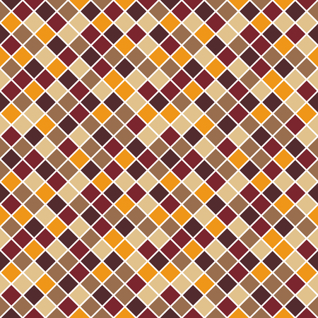 unobtrusive: Seamless pattern made of colorful beige, tan, orange, brown and dark red rhombuses with white lining, mosaic, endless, texture, square, rhomb, tile, tileable, muted, multicolor, decent, unobtrusive, neverending, grid, classic