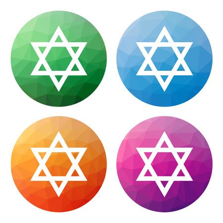 estrella de david: Colección de 4 aislados modernos botones poligonales bajos - iconos - para la estrella de David (símbolo judío)