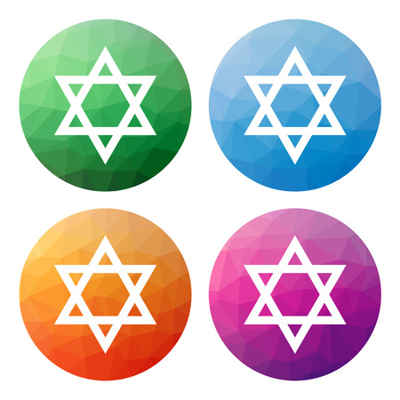 yiddish: Collection of 4 isolated modern low polygonal buttons - icons - for Star of David (jewish symbol)