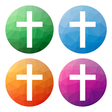 sain: Collection of 4 isolated modern low polygonal buttons - icons - for latin cross, symbol of Christianity