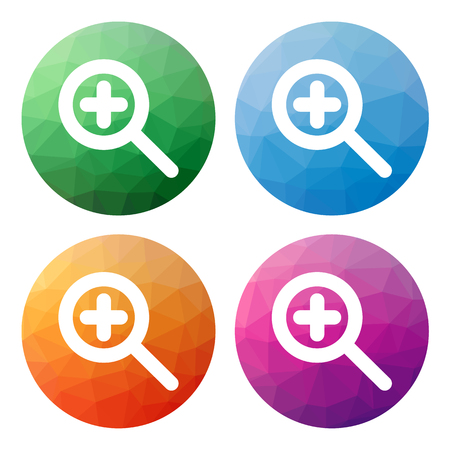 zoom in: Collection of 4 isolated modern low polygonal buttons - icons - for zoom in (magnify)