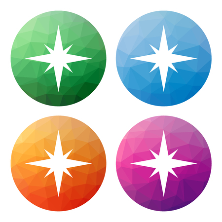 exploration: Collection of 4 isolated modern low polygonal buttons - icons - for compass, navigation, windrose, compass icon, compass button, polygonal button, star, cartography; travel; journey; nautical; adventure; exploration Illustration