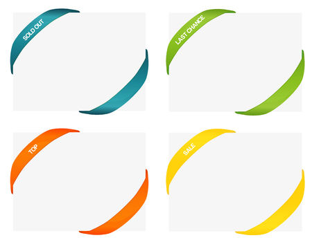 Set of 4 isolated colorful rubber styled bands for corners - one with template text, second one blank - without text, you can easily use which one you want; corner, colorful, rubber band, corner ribbon, colorful ribbon, Illustration