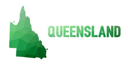 queensland: Green polygonal mosaic map of Queensland - political part of Australia, state, QLD; correct proportions, other Australia states and territories also in portfolio