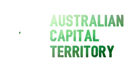 territories: Green polygonal mosaic map of Australian Capital Territory - political part of Australia, territory, ACT; correct proportions, other Australia states and territories also in portfolio