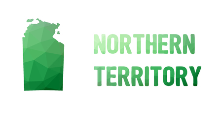 territories: Green polygonal mosaic map of Northern Territory - political part of Australia, territory, NT; correct proportions, other Australia states and territories also in portfolio Illustration