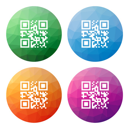qrcode: Collection of 4 isolated modern low polygonal buttons - icons - for qrcode with template meaning, gr code, gr button, gr icon, polygonal button, mosaic button, gr mosaic, scan button, low polygonal Illustration