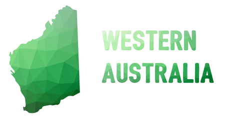 Green polygonal mosaic map of Western Australia - political part of Australia, state, WA; correct proportions, other Australia states and territories also in portfolio