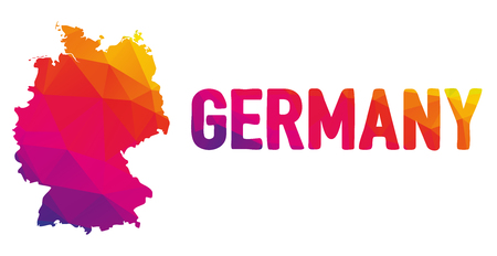 cartography: Low polygonal map of Germany in warm colors, Deutschland, Federal Republic of Germany  - Europe, EU, G8; Mosaic colorful, abstract, geometry, cartography icon Illustration