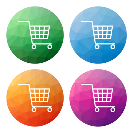 eshop: Collection of 4 isolated modern low polygonal buttons - icons - for shopping cart, e-shop basket, bin, trolley