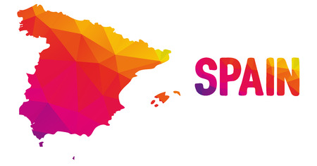 kingdom of spain: Low polygonal map of Spain in warm colors, Espana, Kingdom of Spain - Europe, EU; Mosaic colorful, abstract, geometry, cartography icon Illustration