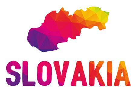 cartography: Low polygonal map of Slovakia in warm colors, Slovenska republika, SK - Europe, EU, Mosaic colorful, abstract, geometry, cartography icon