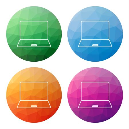 notebook computer: Collection of 4 isolated modern low polygonal mosaic abstract buttons - icons - for notebook (pc, notebook, computer) Illustration