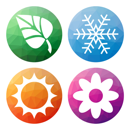 winter flower: Collection of 4 isolated modern low polygonal mosaic abstract buttons - icons - for 4 seasons icons - snowflake for winter, flower for spring, sun for summer and leaf for autumn