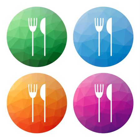 lunchroom: Collection of 4 isolated modern low polygonal mosaic abstract buttons - icons - for fork and knife