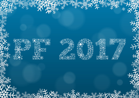 PF (Pour Feliciter, Happy new year) 2017 - white text made of snowflakes on background with bokeh effect and frame made of snowflakes