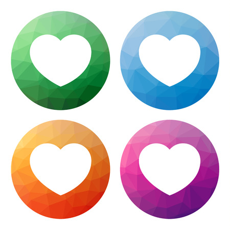 Collection of 4 isolated modern low polygonal mosaic abstract buttons - icons - for heart, like, favourite, best, wish, wishlist