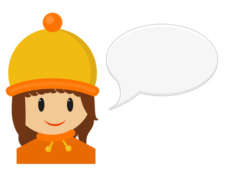 speach: Isolated illustration of smiling young girl in winter cloth with speach bubble, girl is wearing yellow and orange hat and sweater with scarf, isolated on white Illustration