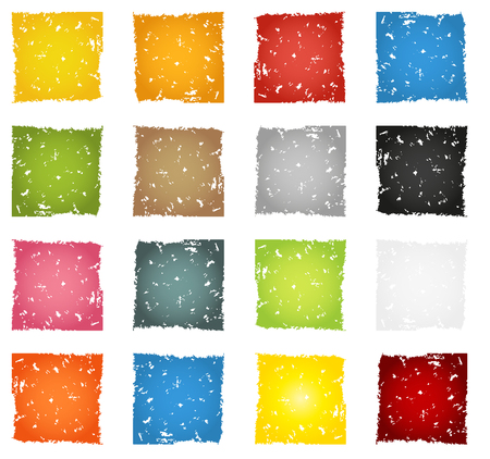 massive: Massive big set of colorful grunge icon or button backgrounds, 16 different colors isolated on white