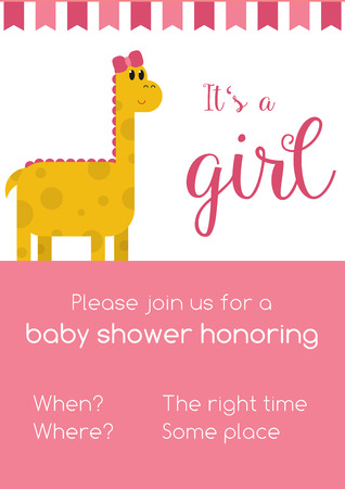 replaced: Pink and white invitaion for girl baby shower honoring with template text - to be replaced with your info, with cute yellow female dinosaur and text Its a girl