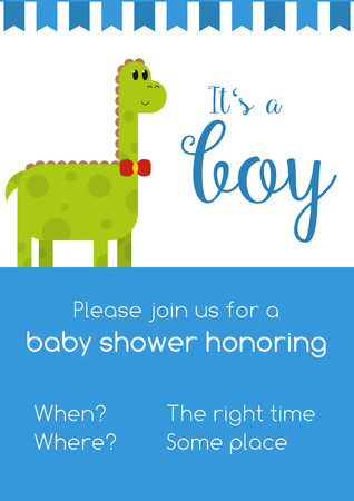 honoring: Blue and white invitaion for boy baby shower honoring with template text - to be replaced with your info, with cute green male dinosaur and text Its a girl