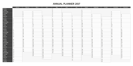 agenda year planner: Greyscale annual planner for 2017 - English, starts with Monday Illustration