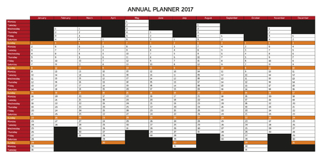 sundays:  Year planning calendar for 2017 in English, Sundays are highlighted, rest of days is white