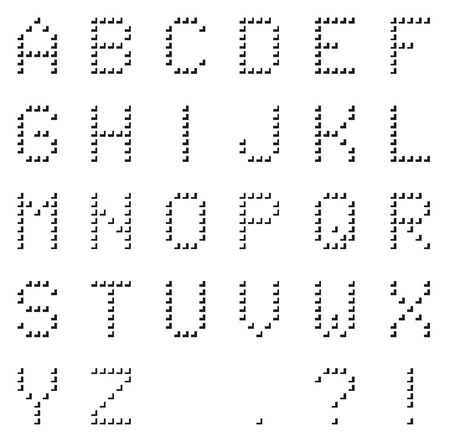 8bit: Isolated black pixel alphabet made of black corners (with punctuation) with shown grid, unusual and trendy