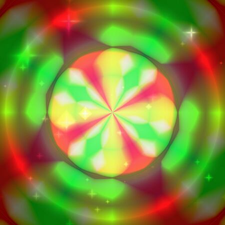 Colorul background with concentric colorful circles - rings, red, green and yellow colors with stars