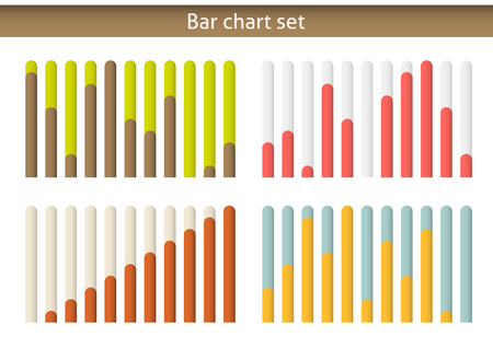 4 colorul bar chart graph set, eash diagram isolated on white.