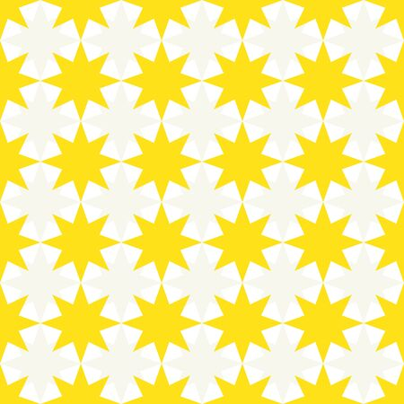 Abstract pattern made of 8 point stars, geometry yellow white colors.
