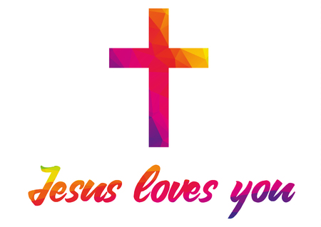 Poster with christian cross and quote Jesus loves you made of rainbow colorful polygonal abstract shapes, on white background - can be easily isolated, simple but impressive