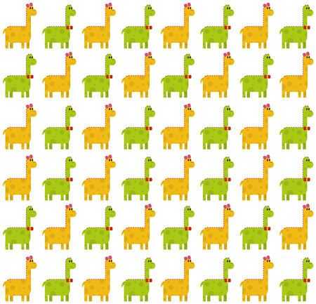 Seamless pattern made by green male and yellow female dinosaurs - brontosaurus (thunder lizard) on white background