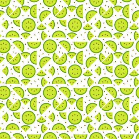 Seamless kiwi (kiwifruit, Chinese gooseberry) pattern background, tasty looking fruit endless texture with seeds Illustration