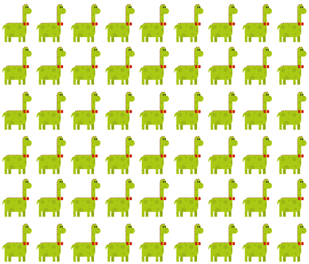 Seamless pattern made by green male dinosaurs - brontosaurus (thunder lizard) on white background Illustration