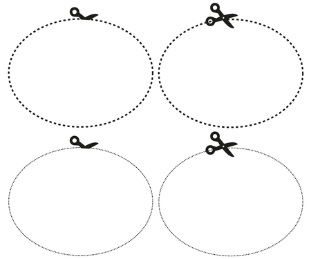 Isolated set of scissors cutting the paper the shape of ellipse with different lines Illustration